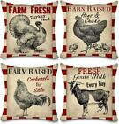 Faromily Vintage Farmhouse Animals Pillow Covers Red Buffalo Plaids Farm Fresh T