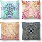 J-Moose Set Of 4 Mandala Throw Pillow Covers Bohemian Decorative Square 18 X 18