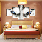 5 Panels Canvas Blue Eyes Wolf Wildlife Painting Wall Artwork Picture Home Decor