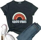 Women's Short Sleeve Christmas T-Shirt Good Vibes Graphic Tees Tops Casual Tops