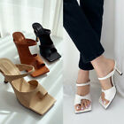 Womens Toe Ring Loop Cut Out High Heel Sandals Blogger