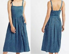 M&S collection DRESS soft linen blend blue striped midi strappy summer rrp £45