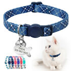 Breakaway Pet Cat Personalized Nylon Collar Safety Release for Puppy Kitten Blue