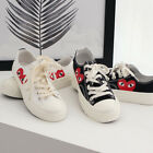 Womens Red Eyed Heart Print Low Top Flat Sneakers Trainers White Black