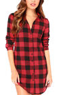 Check Plaid Long Sleeve Polo Neck Buttons Casual Loose Long Tops Shirts S ~ XL