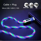 LED Flowing Light Up Magnetic Charger Charging Cable For Type C Micro USB IOS UK