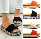 LADIES WOMENS FLATFORM STRAP SLIDERS SUMMER ESPADRILLE SLIP ON SANDALS SHOES SZ