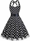 oten Women's Vintage Polka Dot Halter Dress 1950s Floral Sping Retro Rockabilly