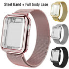 For Apple Watch 6/5/4/3/2/1 Steel Band with Screen Protector Case 44/40/38/42mm