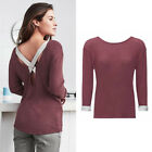 AVON Ladies Womens Burgundy Thin Knit Lounge Top Jumper Size 10 12 14 16 18 20