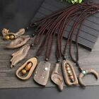 Handmade Sandalwood Natural Stone Pendant Necklace Long Adjustable Sweater Chain