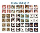 Brittany Spaniel Set of 4 Coasters with no-slip cork backing Brand New