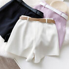 Women High Waist Lavender Casual/Formal Shorts With Pockets and a Belt