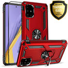 For Samsung Galaxy A51 Case, Ring Kickstand Cover + Tempered Glass Protector