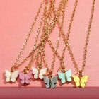 Sweat Color Butterfly Pendant Necklace Clavicle Chain Statement Charm Jewelry