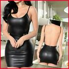 Sexy Women Deep V-neck Summer Slim Short Skirt Latex Halter Sling Lingerie Dress