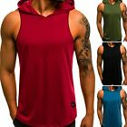 Men's Gym Vest Sleeveless Pullover Hoody Hooded Tank Tops Muscle Clothes T-Shirt