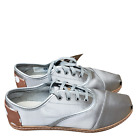 Toms Women's Cordones Silver Satin W/ Rose Gold Polka Dots On Leather
