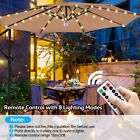 Outdoor Garden Umbrella 104 LED Light Patio Sun Shade Beach Decoration