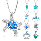 Woman Fashion Silver Jewelry Blue Fire Opal Charm Pendant Necklace Chain Hot