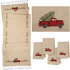 PRIMITIVES BK RED TRUCK with CHRISTMAS TREE TABLE RUNNER or 4 PIECE NAPKIN SET
