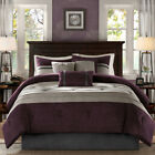 FLORAL COMFORTER BEDDING SET Purple Microsuede Shams Bed Skirt Multiple Sizes image