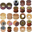 Pair Natural Wood Ear Gauges Flesh Tunnels Double Flared Ear Plugs Us Stock