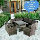 Rattan Corner Garden Furniture Outdoor Sofa Table Set Dining Patio Free Cover Uk