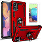For Samsung Galaxy A51 A71 5G Case, Ring Kickstand + Tempered Glass Protector