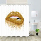 Sexy Golden Lips Fabric Shower Curtain Waterproof Bathroom Curtain Decor
