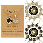 12 Constellation Zodiac Sign Day & Night Pendant Necklace Chain Clavicle Card
