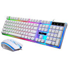 Rainbow LED Backlight Gaming Keyboard And Mouse Set Wired USB For PC Laptop PS4