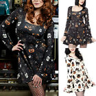 Women's Skull Pumpkin Print Long Sleeve Smock Tunic Mini Dress Halloween Costume