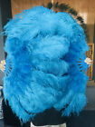 "24"" x 43"" blue Marabou  Ostrich feathers fan with leather Travel Bag"
