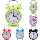 Classic Metal Loud Twin Bell Alarm Clock Quartz Night Light Battery Operated New