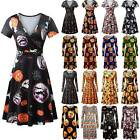 Womens Skull Pumpkin Halloween Tunic Dress Party Flared Swing Dresses Costume US