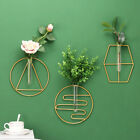 Hydroponic Glass Test Tube Iron Geometric Wall Hanging Vase Planter Home Decor