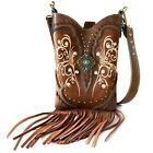 Women Cowgirl Western Country Floral Fringe Cross Body Messenger Purse Victoria