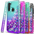 For Samsung Galaxy A11 Case, Liquid Glitter Bling + Tempered Glass Protector