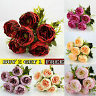 Silk Artificial Wedding Home Flowers Bouquet Decor Party Peony Fake Rose Outdoor