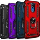 For LG Journey LTE Phone Case, Ring Kickstand Cover + Tempered Glass Protector