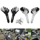 Pair Motorcycle Chrome/Black 3D Skull Hand Claw Rearview Side Mirror 8MM 10MM