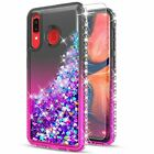 For Samsung Galaxy A20 A30 A50 Case, Liquid Glitter + Tempered Glass Protector