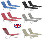 2pcs Set Foldable Sunloungers Outdoor Garden Camping Recliner Day Bed 5 Colors