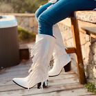 Womens Tassel Mid Calf Boots Block Heels Vintage Coybow Boot Winter Shoes Size