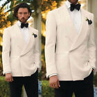 Ivory Men Tuxedos Suits Shawl Lapel Wedding Formal Groom Double-breasted Blazer