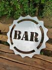 Metal Bar Sign Letters Plaque Beer Cap Shaped Man Cave Bar Garden Home