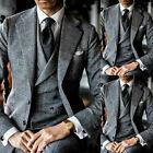 Checkered/Windowpane Men Suits Formal Groom Business Wedding 3 Pieces Tuxedos
