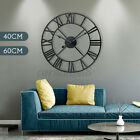 Large Roman Numeral Round Wall Clock Metal Indoor Outdoor Vintage Home Decor