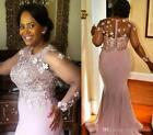 Long Sleeve Beaded Mermaid Mother of the Bride Dresses Pink African Plus Size